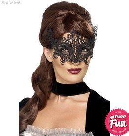 Smiffys Black Embroidered Lace Filigree Swirl Eyemask