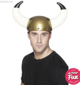 Smiffys Gold Viking Helmet with Large Horns