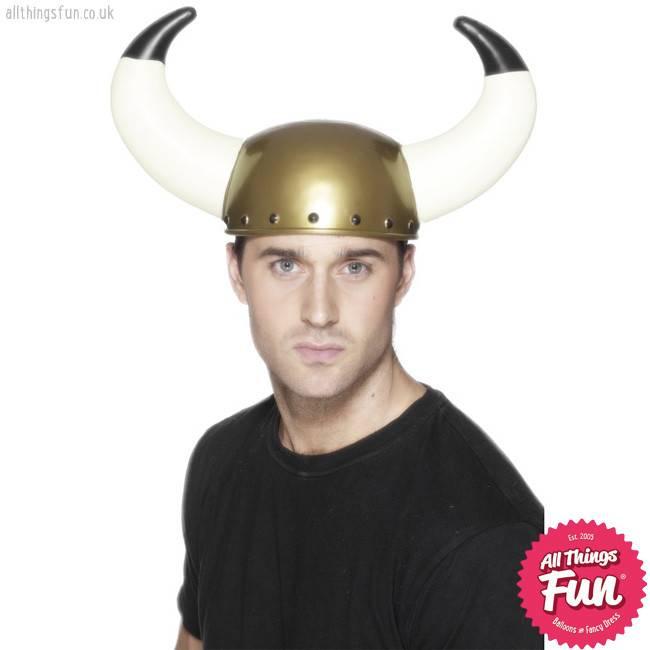 Smiffys Gold Viking Helmet with Large Horns