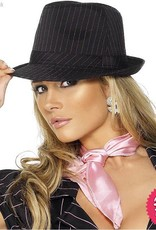 Smiffys Fever Black Trilby Hat with Pink Stripe