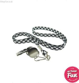 Smiffys Silver Metal Whistle on Black & White Lanyard