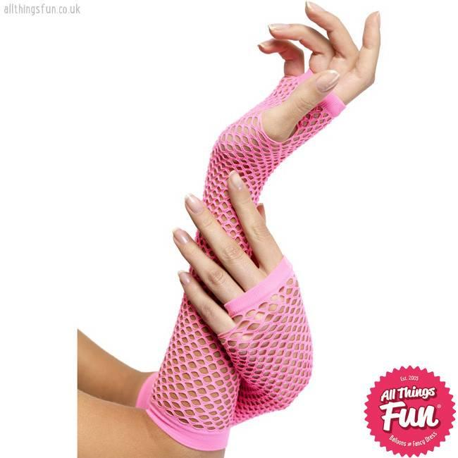 Smiffys Long Hot Pink Fishnet Gloves