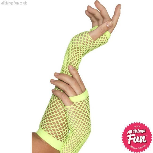 Smiffys Long Neon Green Fishnet Gloves