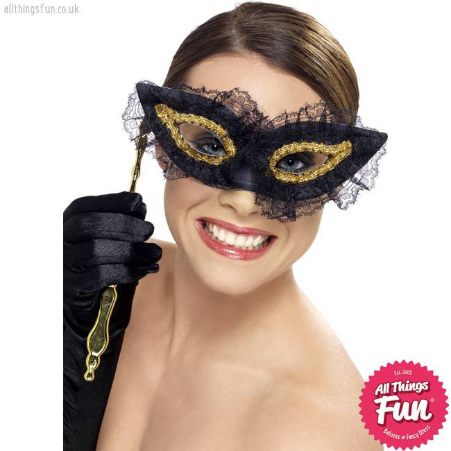 Smiffys Fastidious Black Eyemask on a Stick with Lace Trim