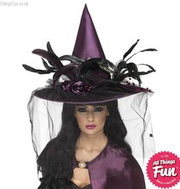 Smiffys *SP* Deluxe Purple Witch Hat with Feathers & Netting