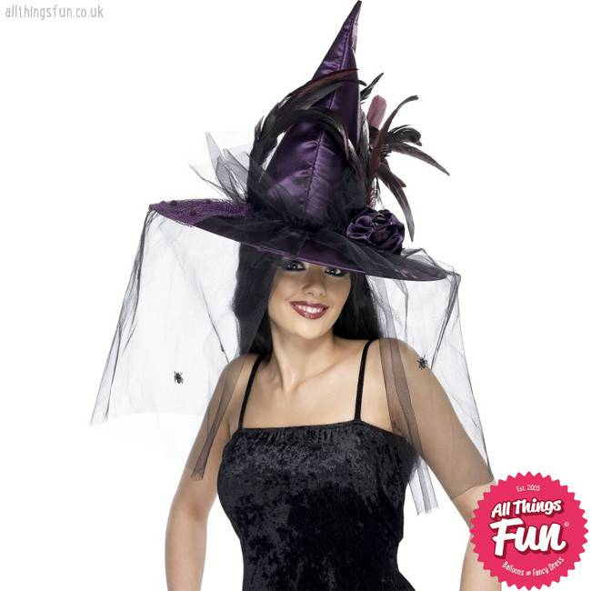 Smiffys Deluxe Purple Witch Hat with Feathers & Netting