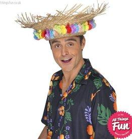 Smiffys Straw Beach Hat with Flowers