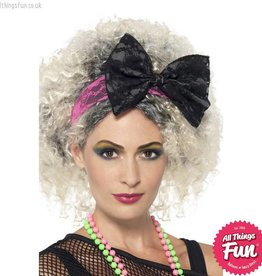Smiffys 80's Black & Pink Lace Headband