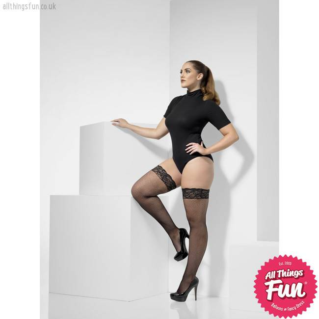 Smiffys Extra Large Black Fishnet Hold Ups with Lace Tops