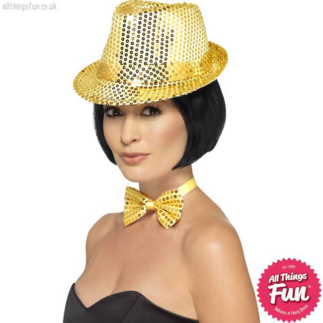 Smiffys Gold Sequin Trilby Hat