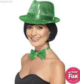 Smiffys Green Sequin Trilby Hat