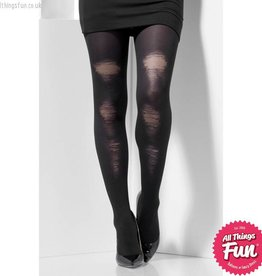 Smiffys Black Opaque Tights with Distressed Detail