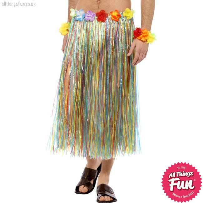 Smiffys Hawaiian Multi Coloured Hula Skirt with Flowers