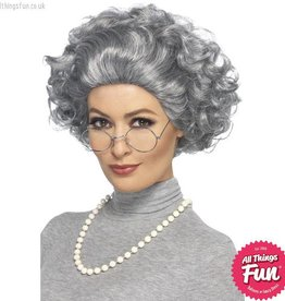 Smiffys Granny Kit with Wig, Glasses & Pearl Necklace