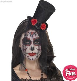Smiffys Day of the Dead Mini Black Top Hat on Headband with Roses