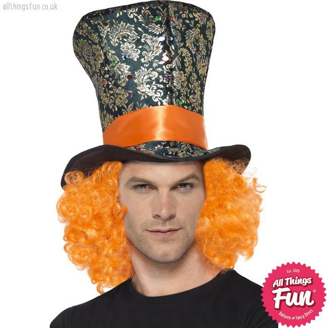 Smiffys Multi Coloured Top Hat with Hair