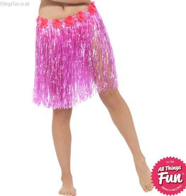 Smiffys Hawaiian Neon Pink Hula Skirt with Flowers