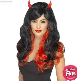 Smiffys *SP* Red & Black Devil Wig with Horns