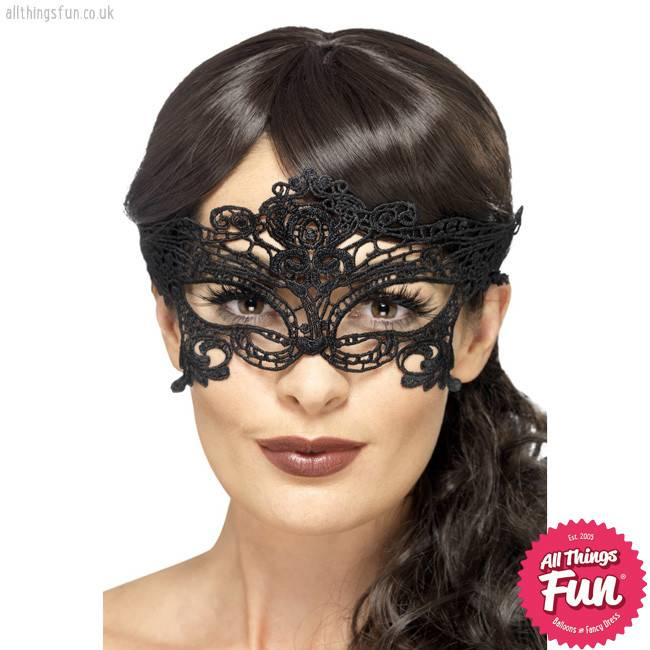 Smiffys Black Embroidered Lace Filigree Heart Eyemask