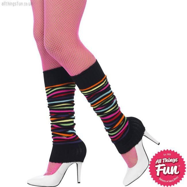 Smiffys Neon Legwarmers with Black Stripes