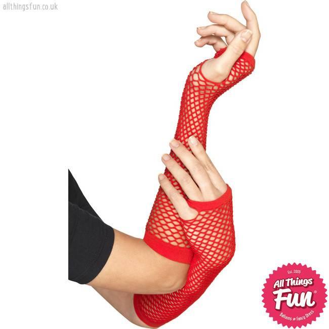 Smiffys *DISC* Long Red Fishnet Gloves