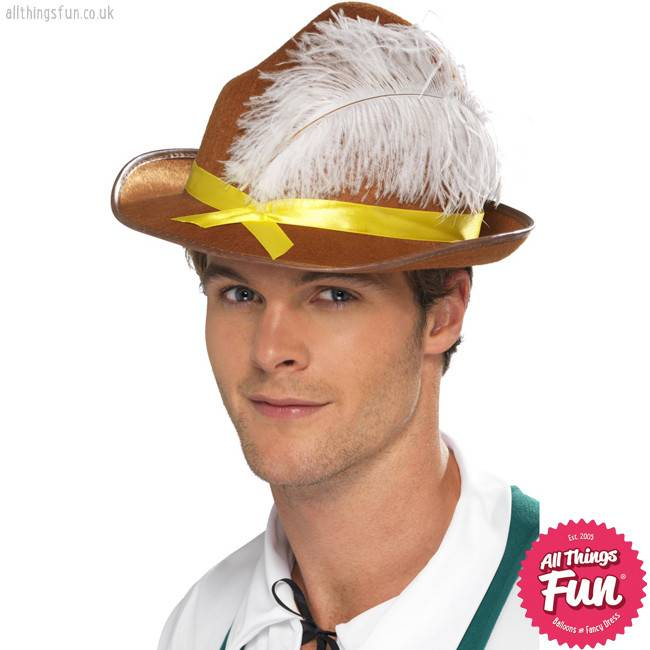 Smiffys Brown Bavarian Hat with Feather