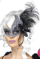 Smiffys Masquerade Dark Angel Silver & Black Eyemask with Feathers