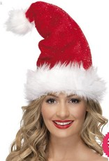 Smiffys Deluxe Santa Hat with Tinsel