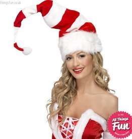 Smiffys Striped Santa Hat with Wire