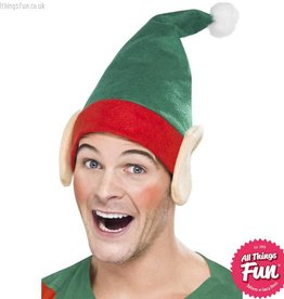 Smiffys Green Elf Hat with Ears