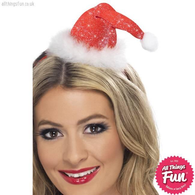 Smiffys Mini Glitter Santa Hat on a Headband