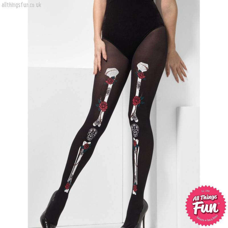 Smiffys Opaque Day of the Dead Tights