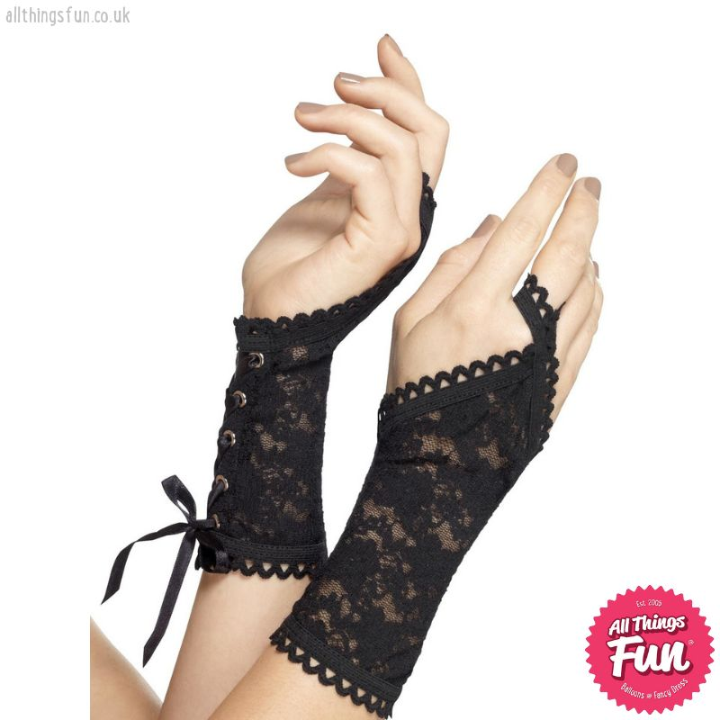 Smiffys Black Lace Glovettes