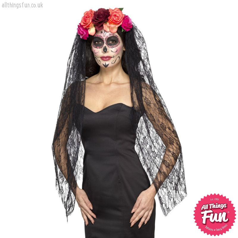 Smiffys Deluxe Day of the Dead Red & Black Headband with Roses & Veil