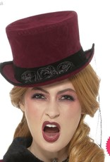 Smiffys Deluxe Victorian Vampiress Burgundy Hat with Veil