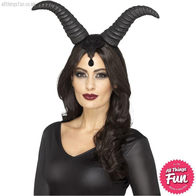 Smiffys Demonic Queen Black Horns on Headband