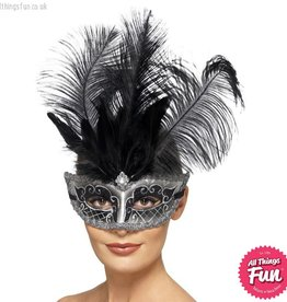 Smiffys Venetian Grey Colombina Eyemask with Black Plumes