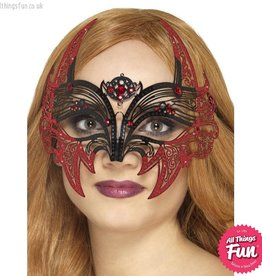 Smiffys Black Metal Filigree Devil Eyemask