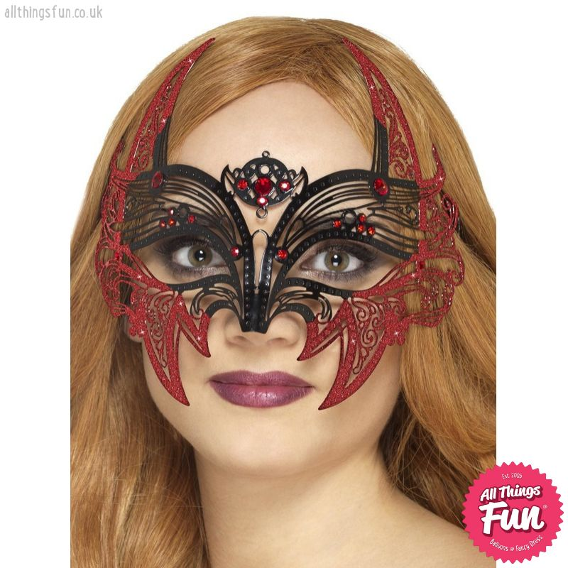 Smiffys Black Metal Filigree Devil Eyemask
