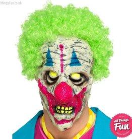 Smiffys UV Black Light Clown Latex overhead Mask with Hair