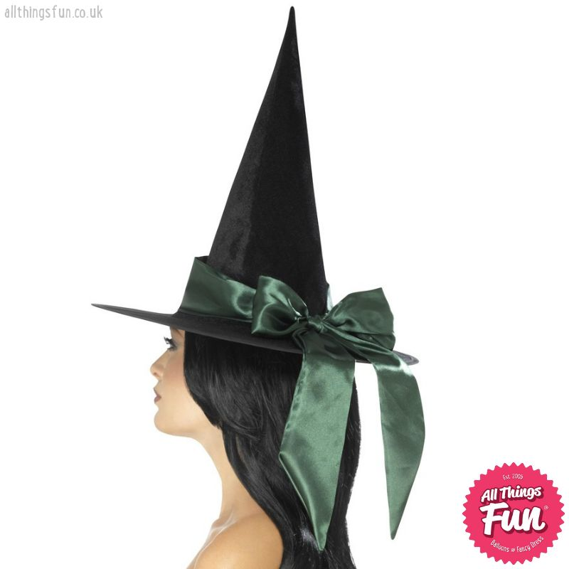 Smiffys Deluxe Black Witch Hat with Green Bow