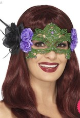 Smiffys Black & Green Embroidered Lace Filigree Witch Eyemask