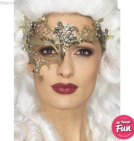 Smiffys Deluxe Gold Metal Filigree Half Eyemask