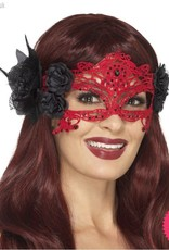 Smiffys Red & Black Embroidered Lace Filigree Devil Eyemask