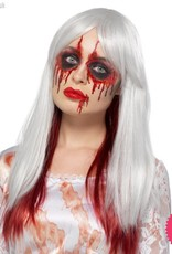Smiffys Deluxe White & Red Blood Drip Ombre Wig