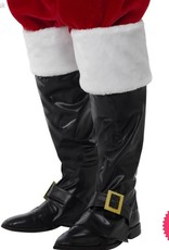Smiffys Deluxe Black Santa Boot Covers with White Fur Tops