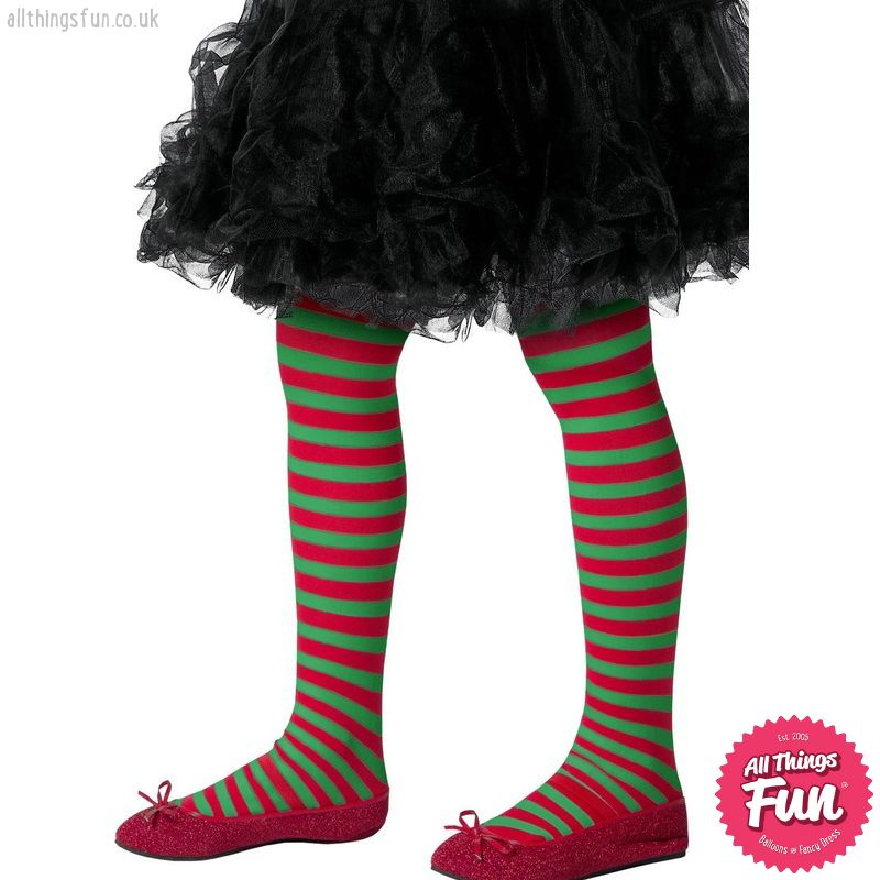 Smiffys Child's Green & Red Striped Tights