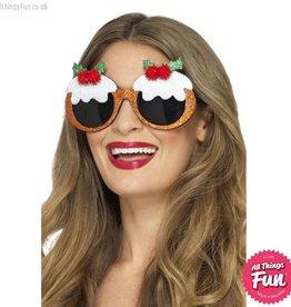 Smiffys *DISC* Christmas Pudding Glasses