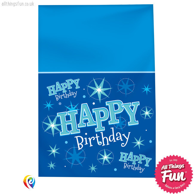 Pioneer Balloon Company Table Cover - Happy Birthday Blue Sparkle