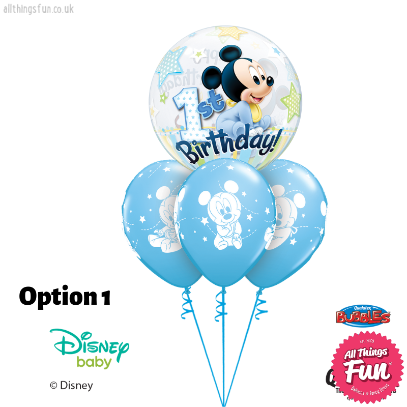 Mickey Mouse 1st Birthday Bubble Layer